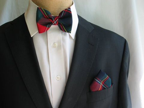Quebec Tartan bow tie and pocket square-Taylors Tartans