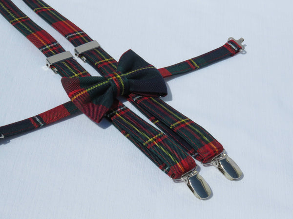 Quebec Tartan Suspenders and Bow Tie Set