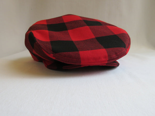 Red and Black Buffalo Check Flat Cap