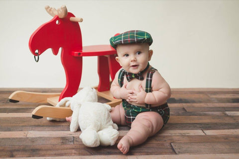 Tartan Newsboy Cap Diaper Cover Suspenders Bow Tie Set-Taylors Tartans