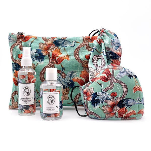 Wings of Water Coral clutch bag with sanitizing kit and mask - Campomarzio70