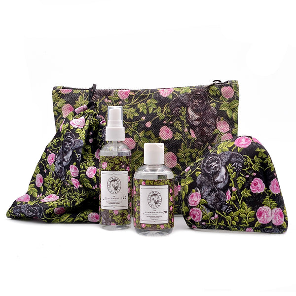 King of Roses Black clutch bag with sanitizing kit and mask - Campomarzio70