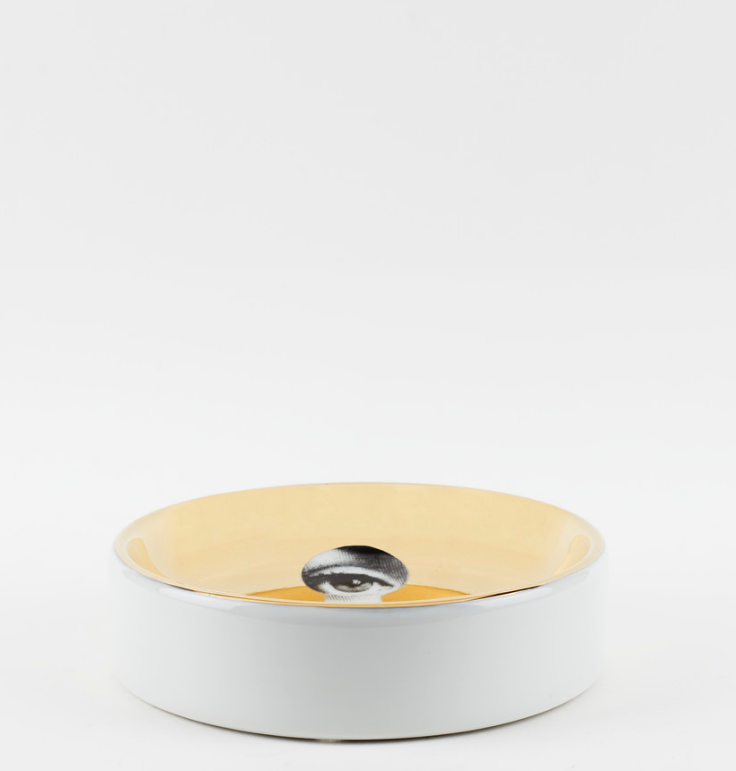 Round ashtray Theme and Variations n°14 white/black/gold - Fornasetti