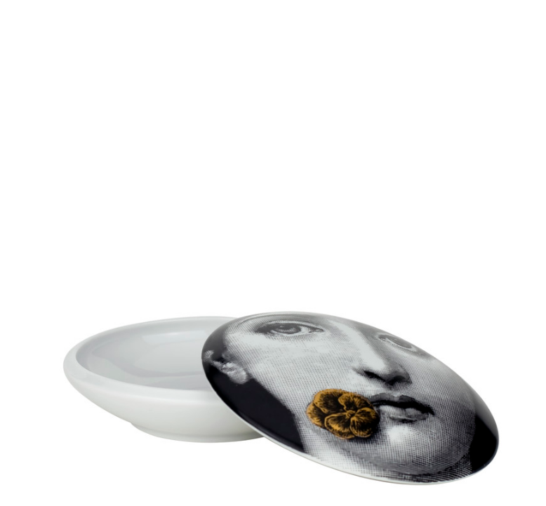 Round box Theme and Variations n°137 white/black/gold - Fornasetti
