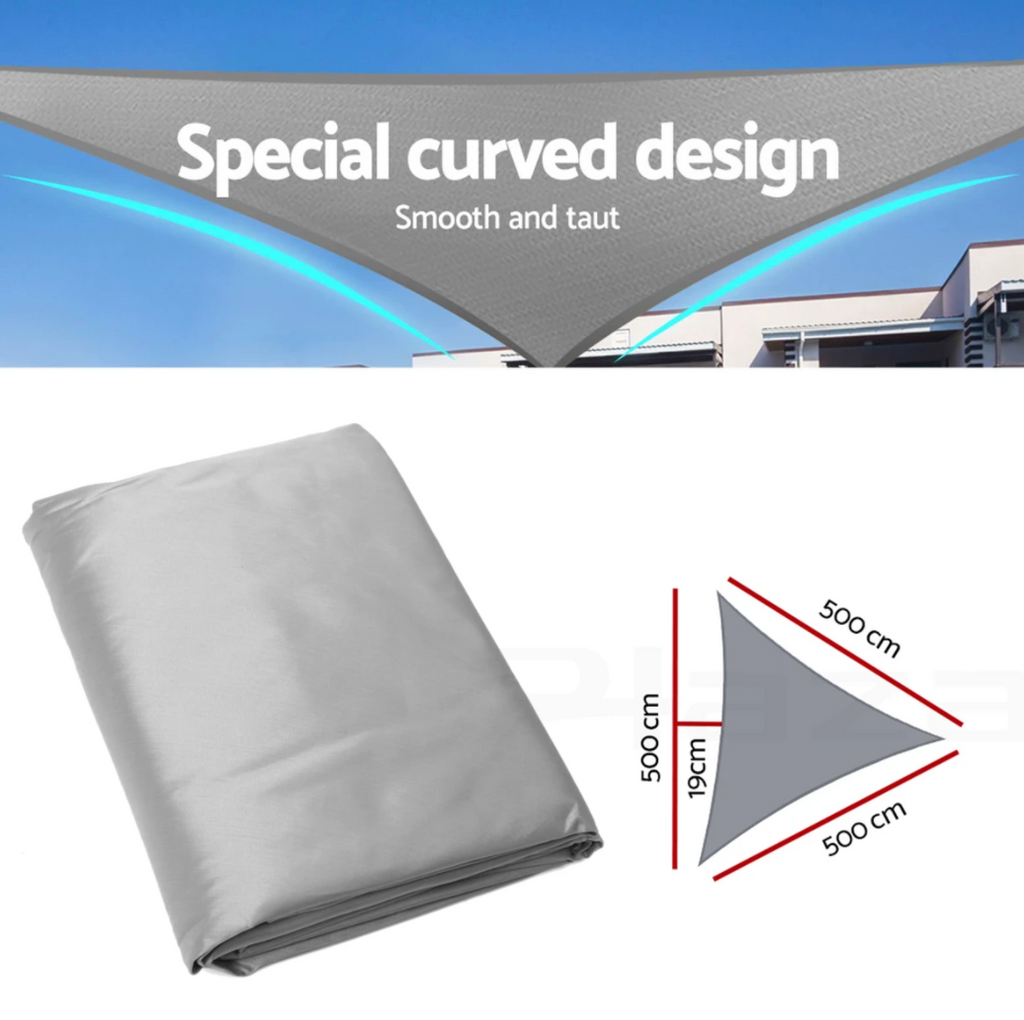 Triangle Tent Sunshade Sail Shade Cloth Outdoor Canopy Awning 5x5x5 Meters