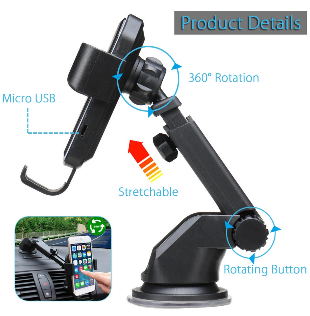 Universal 10W Qi Wireless Fast Charge Auto Lock Suction Car Phone Holder Mount