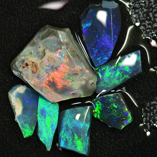 17.30 cts Australian Rough  Black Opal Parcel, Rubs Lightning Ridge CMR