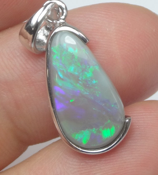 Australian Lightning Ridge Solid Opal Sterling Silver 925 Pendant L27mm