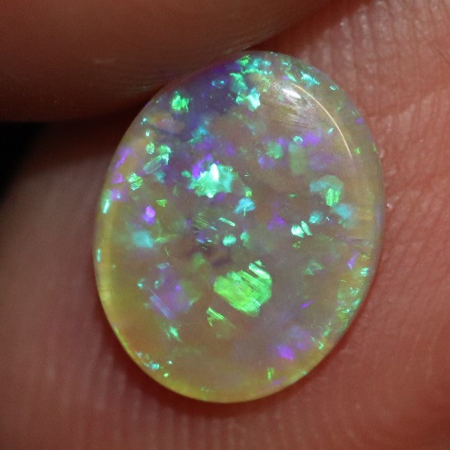 0.92 cts Australian Semi Black Crystal Opal Solid Lightning Ridge Cabochon Loose Stone
