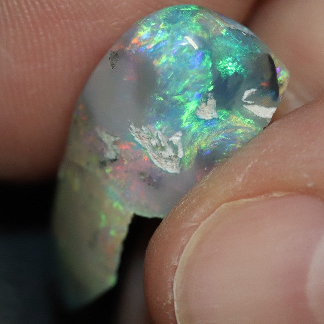 13.75 cts Australian Semi Black Opal Rough, Lightning Ridge, Polished Specimen, Natural Red Green Blue Stone