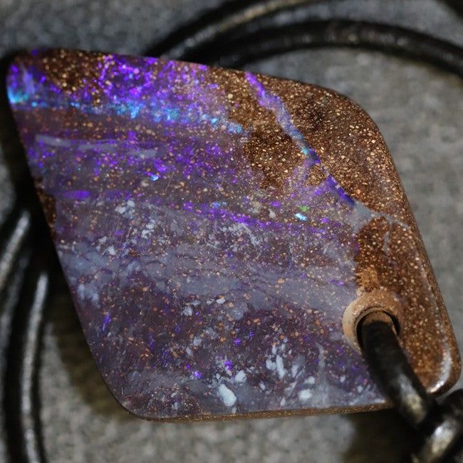 Australian Opal Boulder Drilled Greek Leather Pendant Necklace 37.25 cts