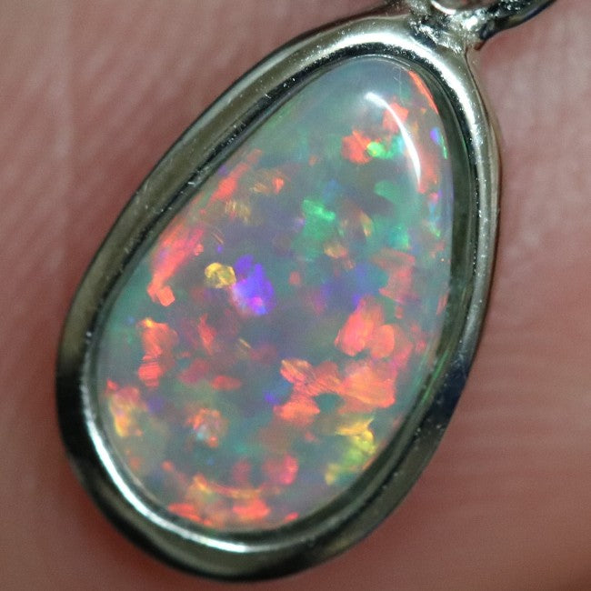 0.82 g Australian Lightning Ridge Solid Semi-Black Opal Pendant Silver L 19.3 mm