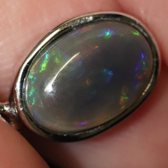 1.30 g Australian Lightning Ridge Solid Crystal Black Opal Pendant Silver L 19.2 mm