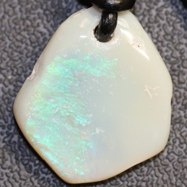 Australian Opal Boulder Drilled Greek Leather Mounted Pendant Necklace 15.85 cts