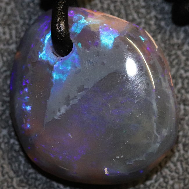 Australian Opal Lightning Ridge Drilled Greek Leather Mounted Pendant Necklace 15.25 cts