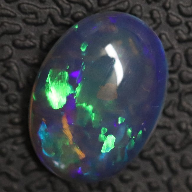 1.12 cts Australian Lightning Ridge, Semi Black Crystal Solid Opal, Cabochon Loose Stone