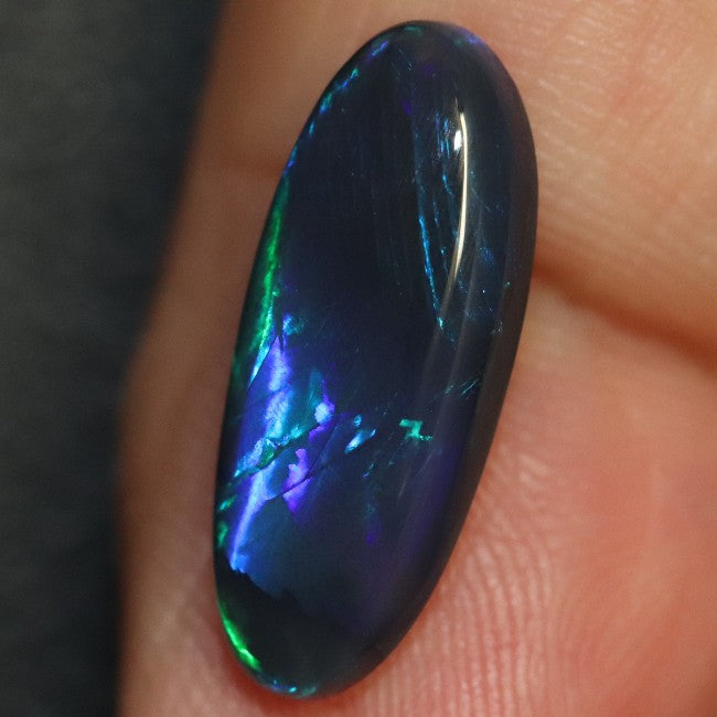 3.33 cts Australian Black Opal Lightning Ridge, Solid Gem Stone, Cabochon, Green Blue