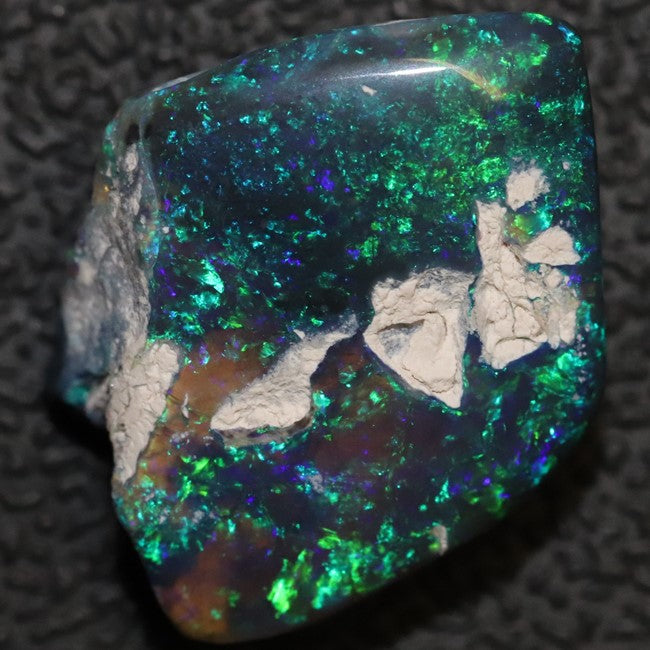 Australian Black Opal Rough, Lightning Ridge Polished Specimen, green.blue
