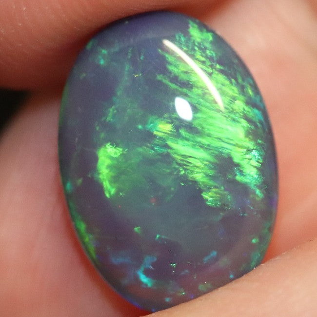 5.02 cts Black Crystal Opal Solid Lightning Ridge Cabochon Loose Stone