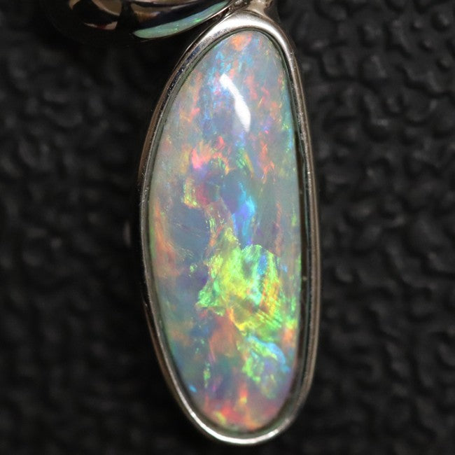 1.04 g Australian Lightning Ridge Solid Semi-Black Opal Pendant Silver L 23.7 mm