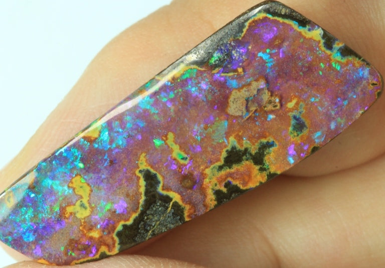 AUSTRALIAN BOULDER OPAL SOLID STONE NATURAL CUT 24.55 cts +Vid