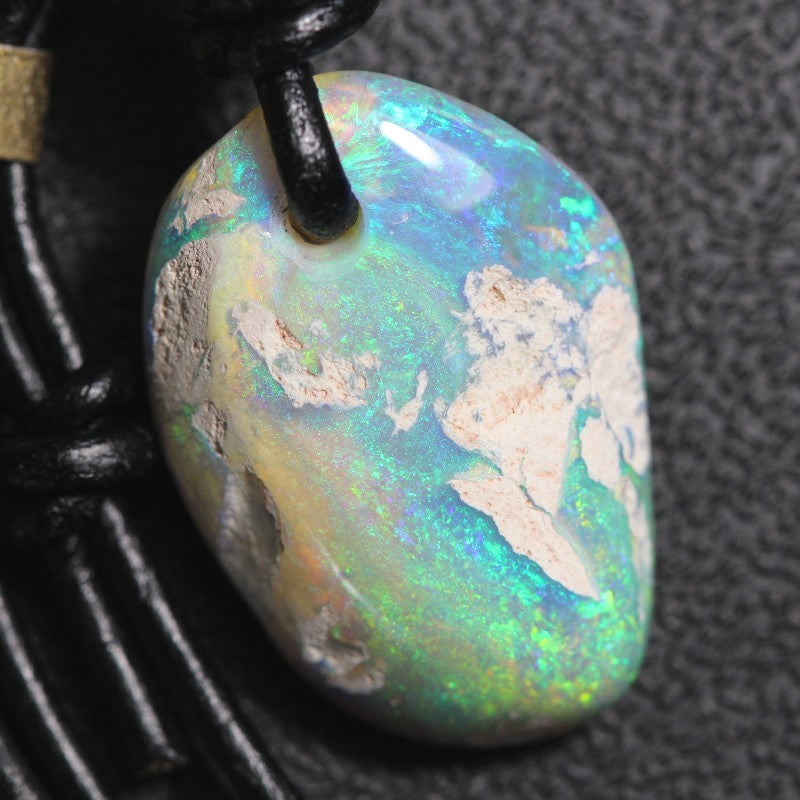 Australian Opal Boulder Drilled Greek Leather Mounted Pendant Necklace 20.84 cts