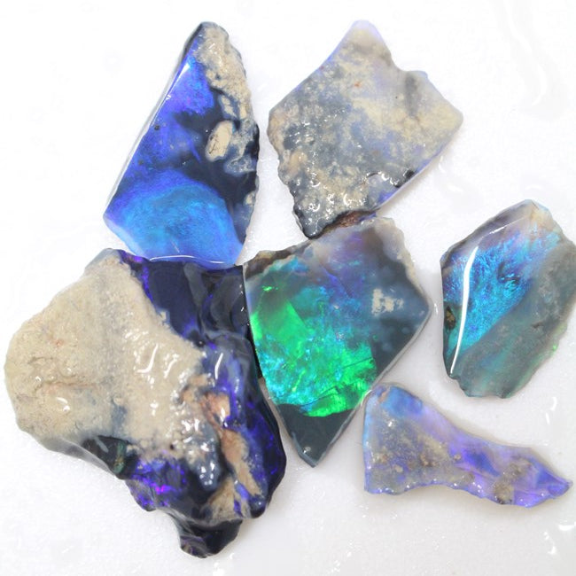 83 cts Australian Black Opal Rough Lightning Ridge Parcel Rubs CMR