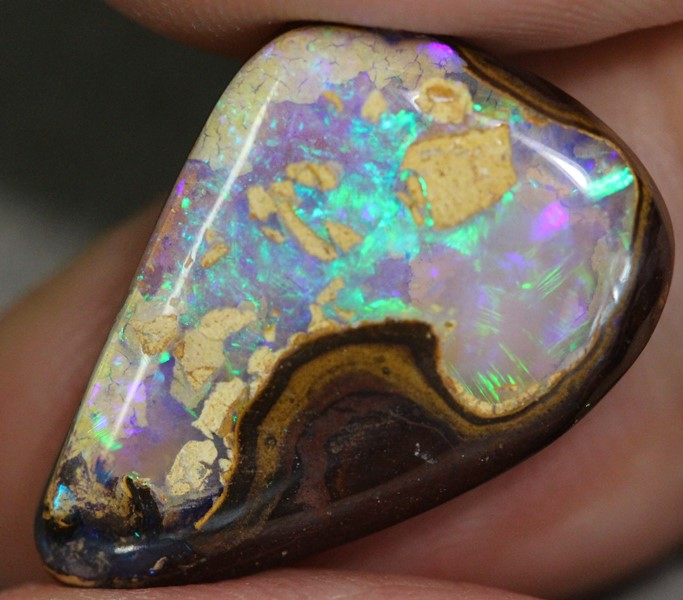 Natural Australian BOULDER OPAL SOLID CUT LOOSE STONE 13.30 cts vid