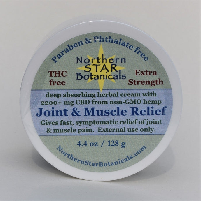 Extra Strength Joint  & Muscle Relief Cream with pure CBD and therapeutic essential oils, by Northern Star Botanicals.