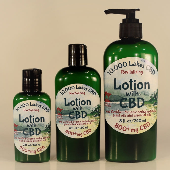 Revitalizing Lotion with CBD combines organic oils, premium herbal extracts, therapeutic essential oils and CBD, by 10,000 Lakes CBD