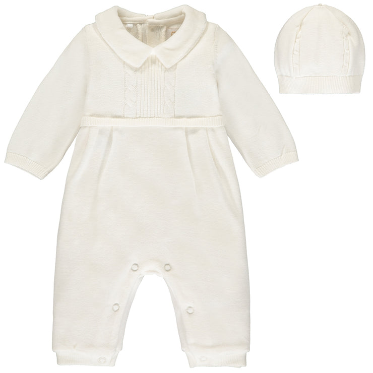 Langston Ivory Traditional Baby Boys All in One with Hat