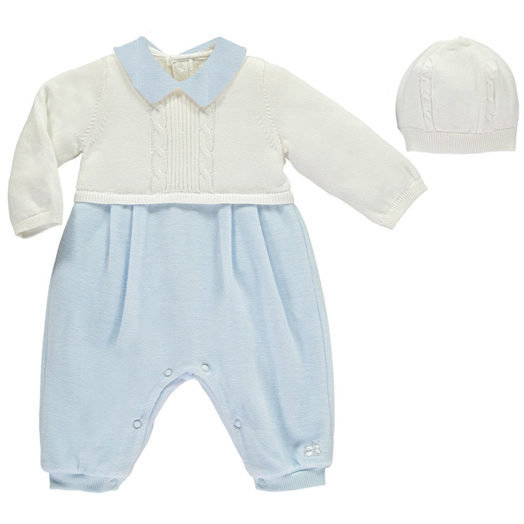 Langston Blue Traditional Baby Boys All in One with Hat
