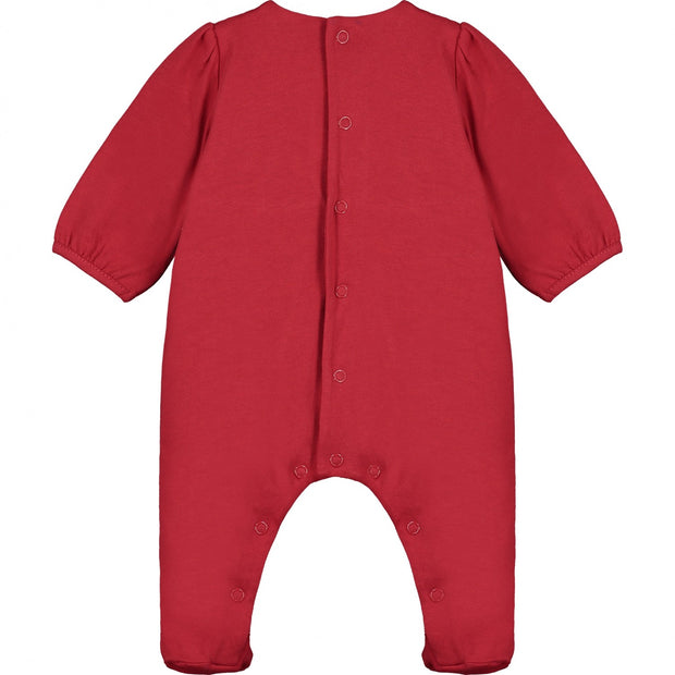 Nea Red Cotton Babygrow with Lace Detail