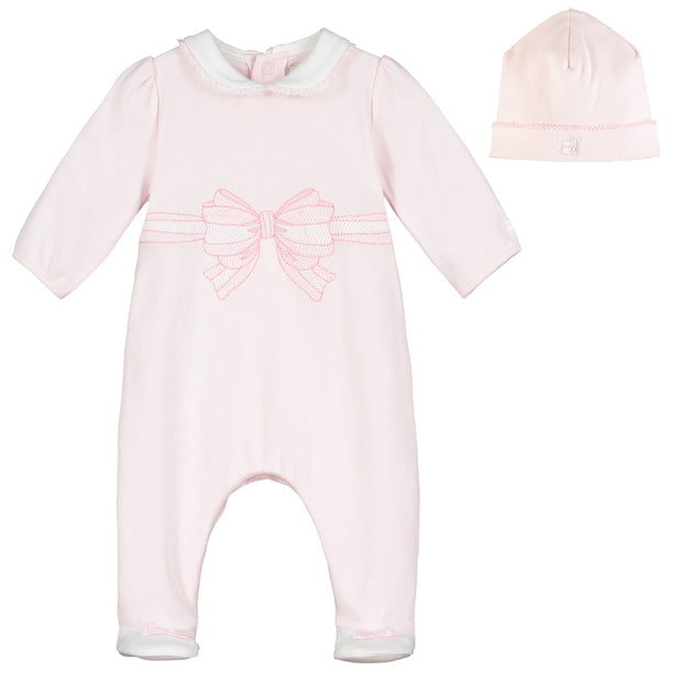 Thalia Pink Girls Babygrow & Hat Set