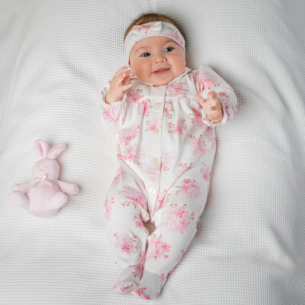Waverley Pink Floral Babygrow & Hairband