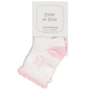 Anya Girls Socks Twin Pack, Pink and White
