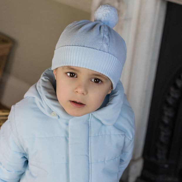 Fuzzy Blue Baby Bobble Hat