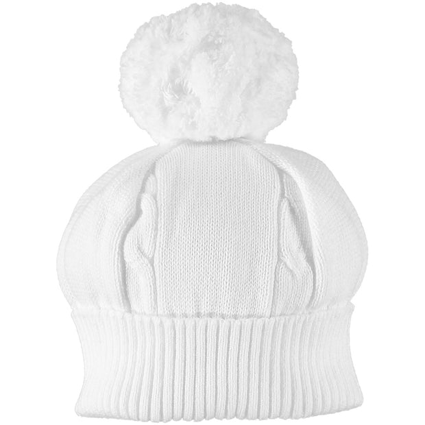 Fuzzy White Baby Bobble Hat