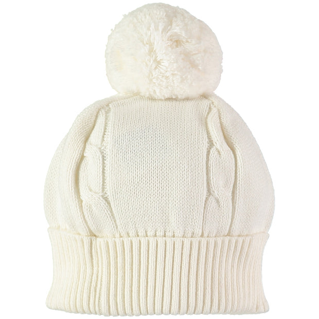 Fuzzy Cable Knit Bobble Hat, Ivory