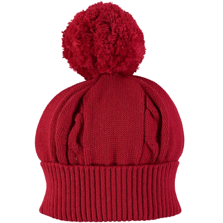 Fuzzy Cable Knit Bobble Hat, Red