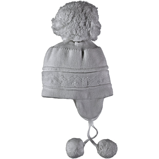 Griffin Grey Baby Bobble Hat with Ear Flaps