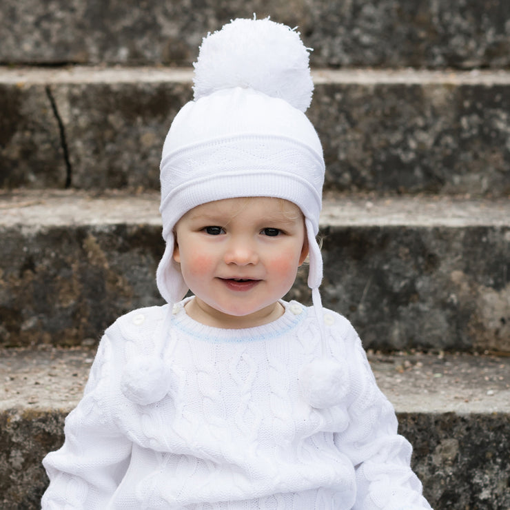 Griffin White Baby Bobble Hat with Ear Flaps