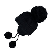 Griffin Baby Boy Knit Bobble Hat with Ear Flaps, Navy