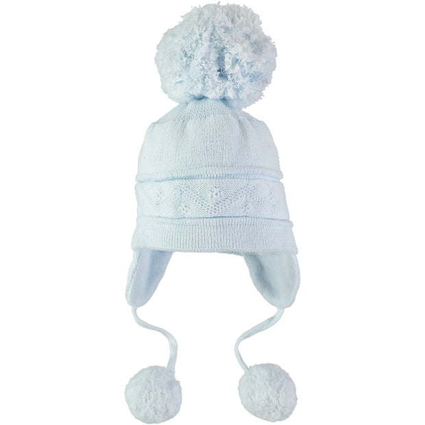 Griffin Baby Boy Knit Bobble Hat with Ear Flaps, Pale Blue