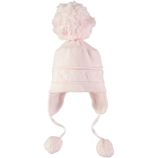 Griffin Pink Baby Bobble Hat with Ear Flaps
