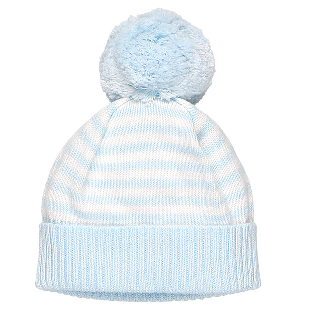 Geneva Blue Striped Baby Bobble Hat
