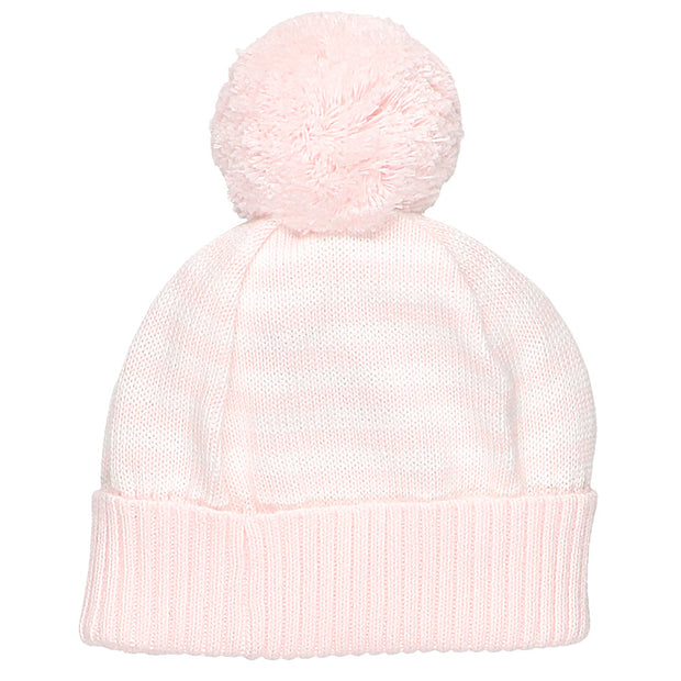 Geneva Pink Striped Baby Bobble Hat