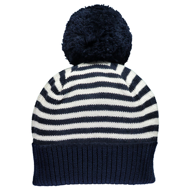 Geoffrey Stripe Knit Bobble Hat, Navy