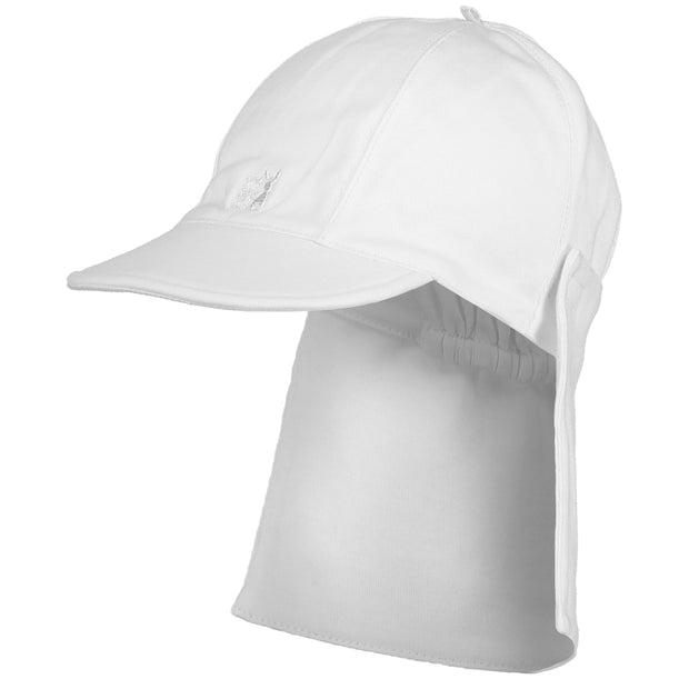 Aspen Cotton Baby Boy Suncap with Detachable Flap White