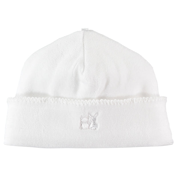 Novel White Unisex Baby Velour Pull On Hat